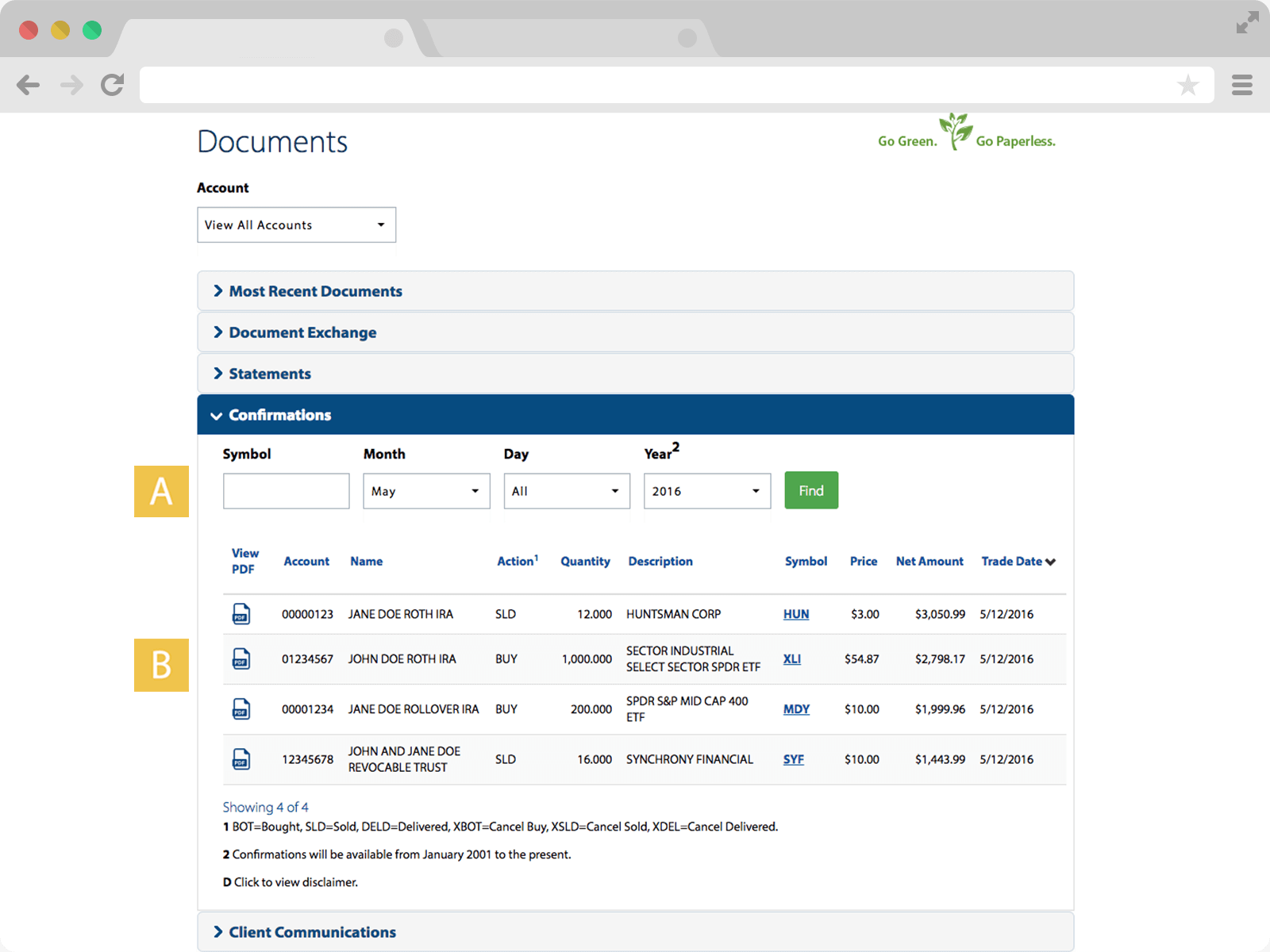 Screenshot of Confirmations page