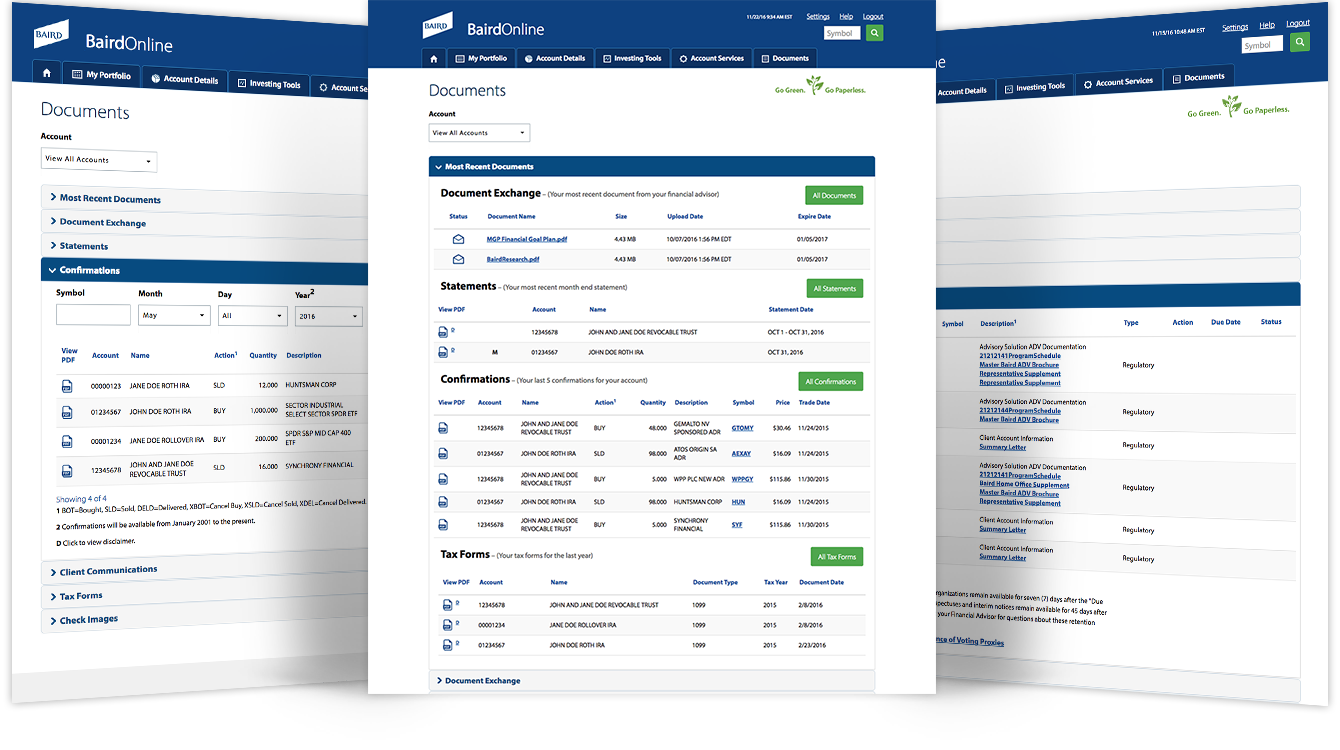 Screenshot of different Statements, Confirmations, and Investor Communications screens.