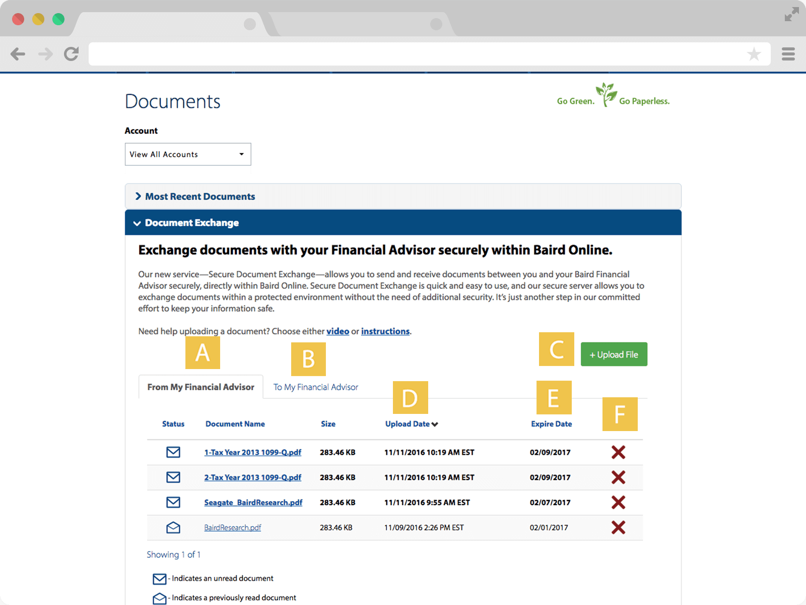 Screenshot of Secure Document Exchange page
