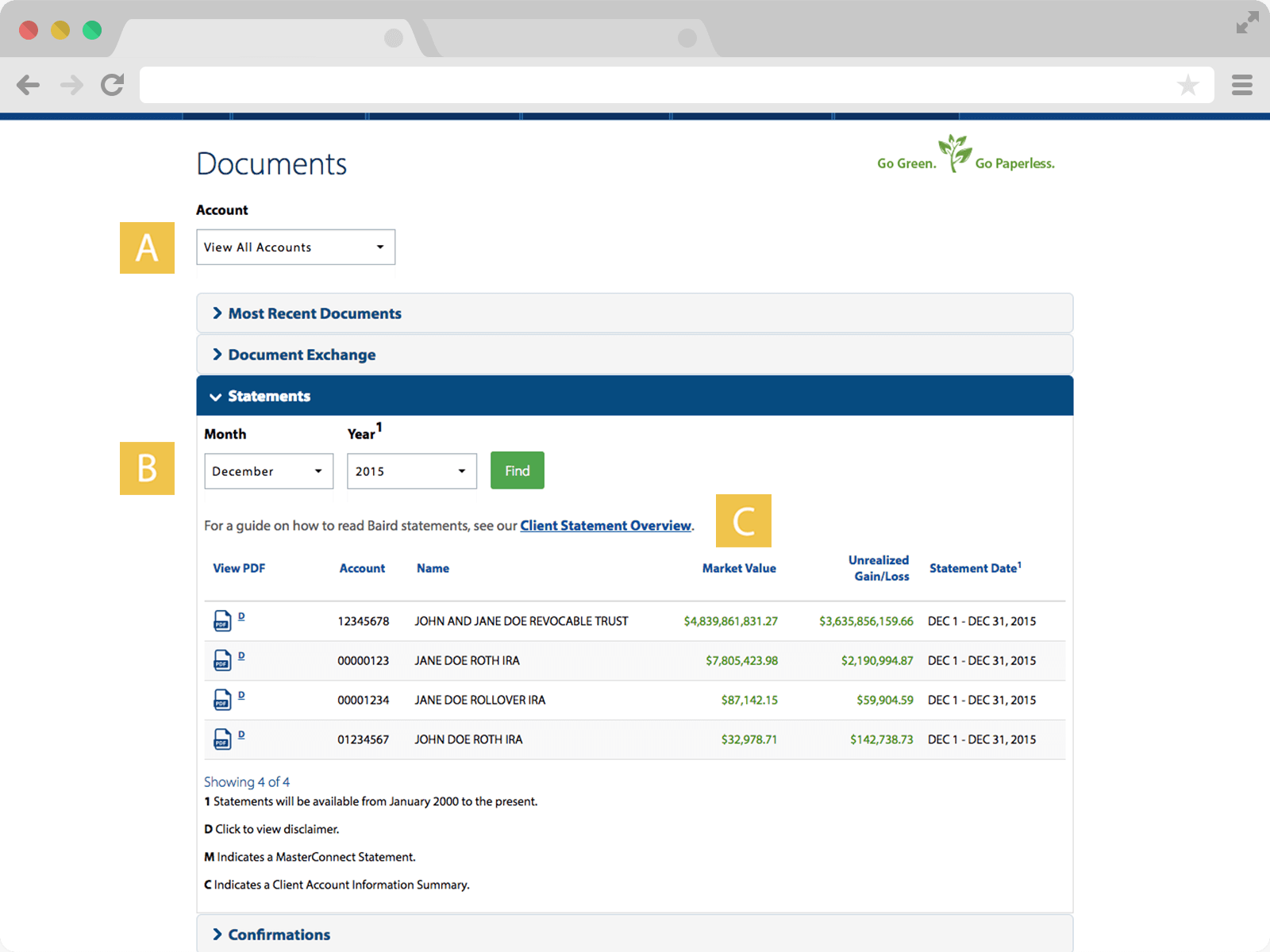 Screenshot of Statements page