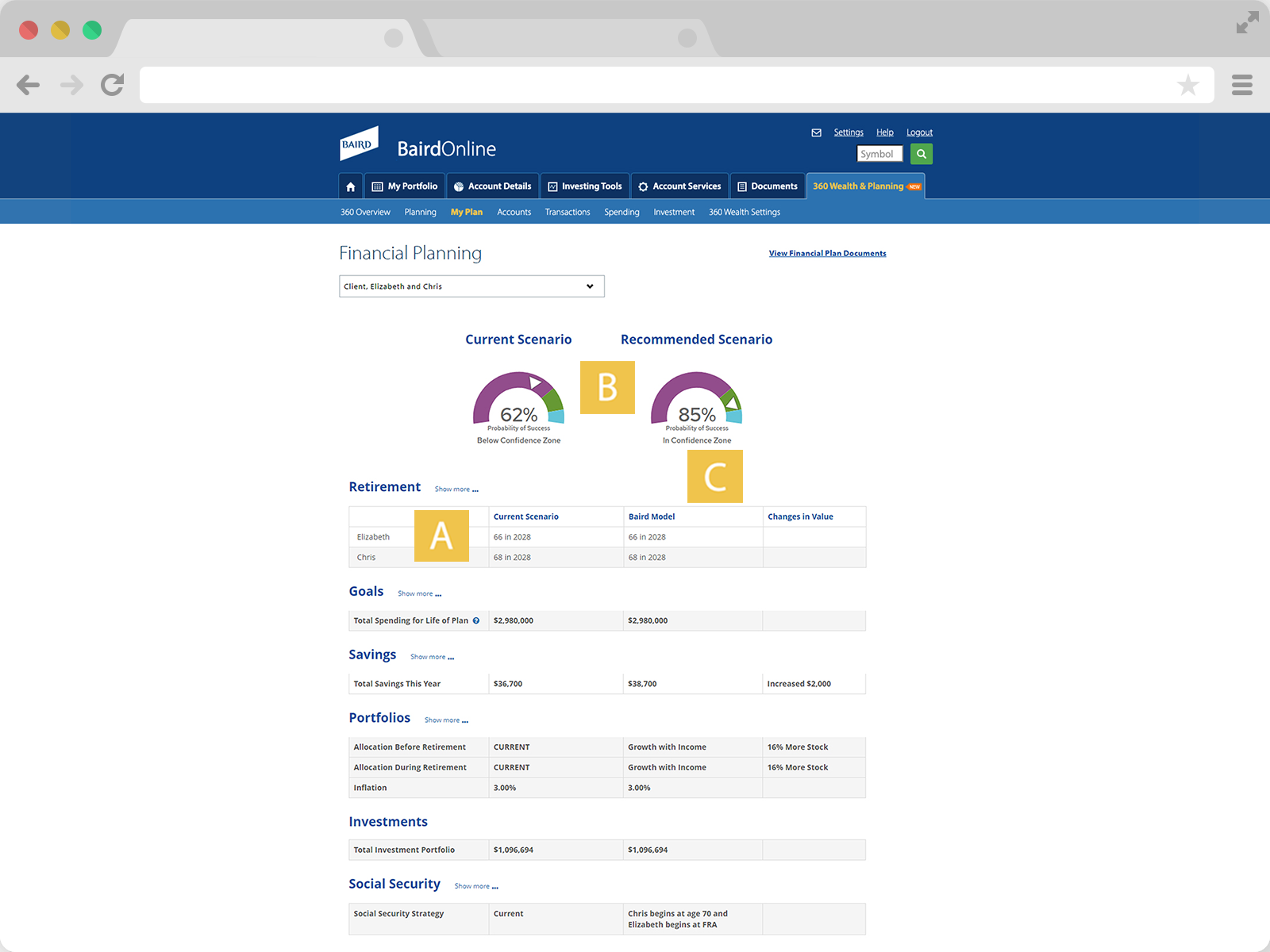 Screenshot of Compare to Current page.