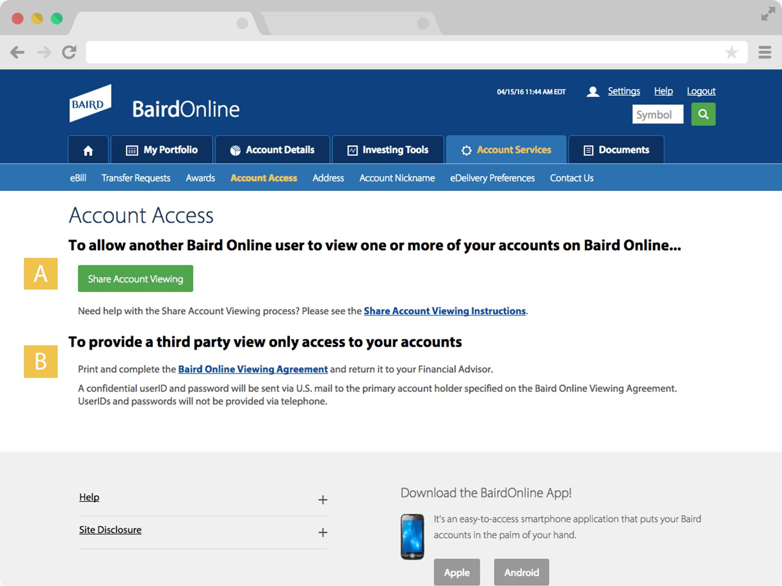 Screenshot of Account Access page