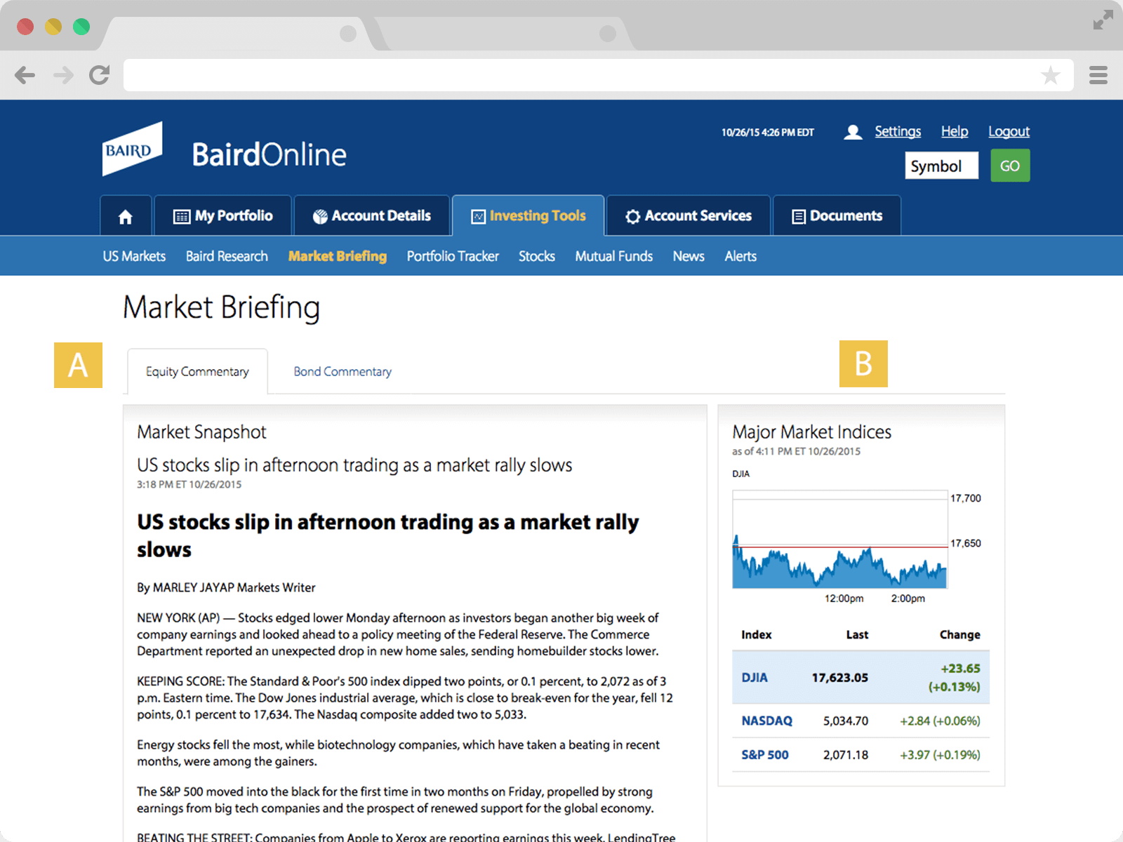 Screenshot of Market Briefing page