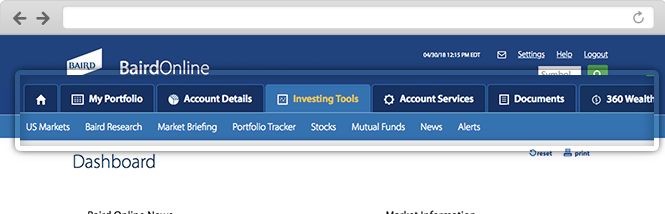 Close-up of Investing Tools navigation.