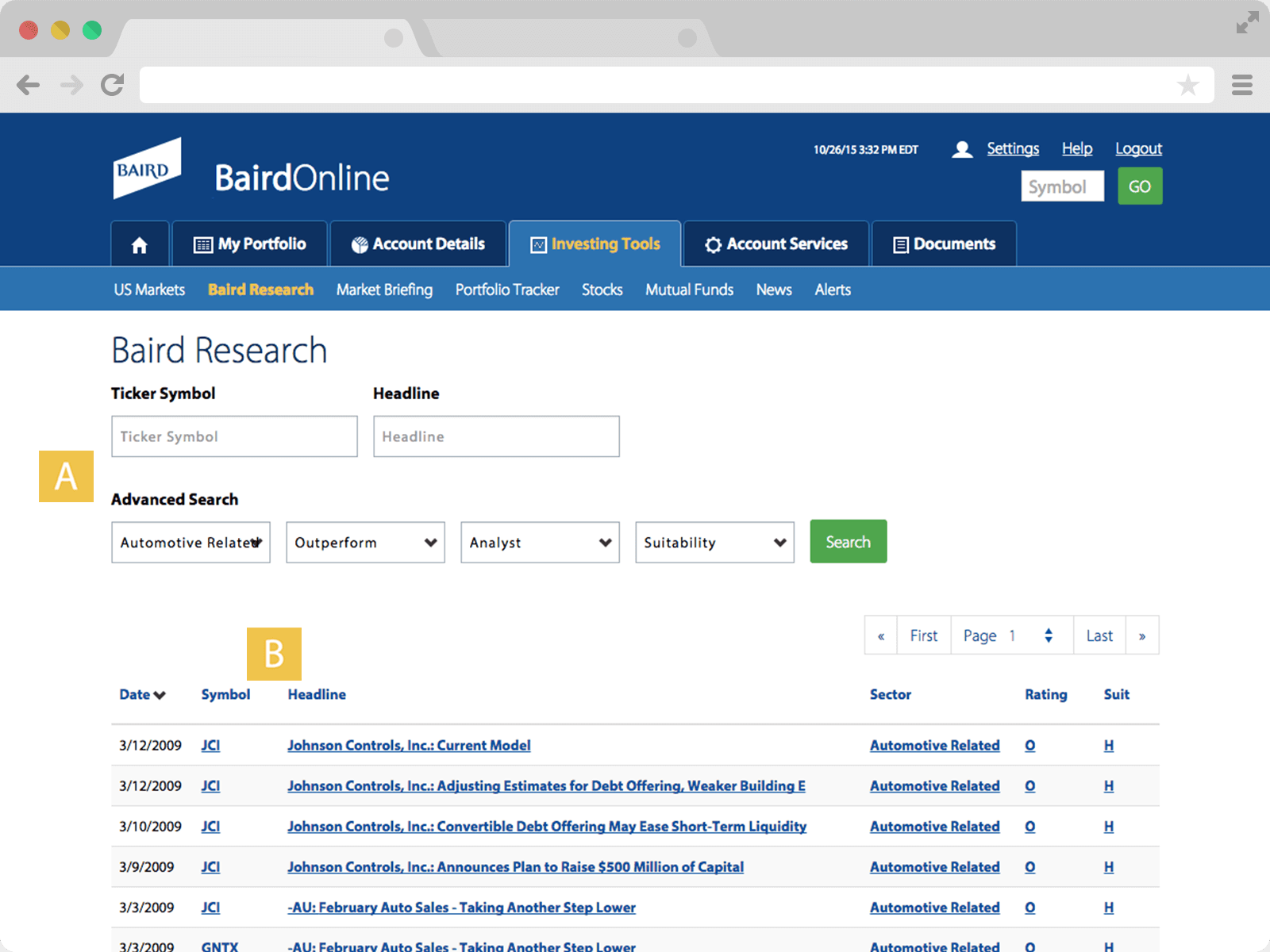 Screenshot of Baird Research page