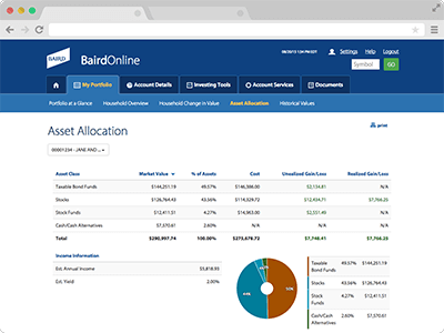 Asset Allocation screenshot