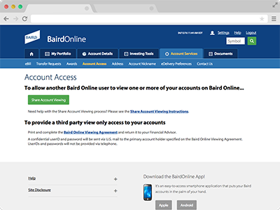 Account Access screenshot