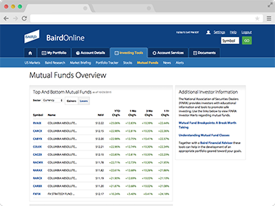 Mutual Funds screenshot